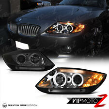 2003-2008 BMW Z4 [SMOKE LEN] Dual Halo Angel Eye Projector Headlight Lamp LH+RH