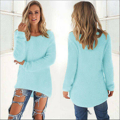 US Womens Fluffy Warm Sweater Long Sleeve Sweatshirt Jumper Pullover Tops Blouse