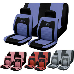 6PC UNIVERSAL FULL CAR SEAT COVER SET RS STYLE GREY BLACK ...