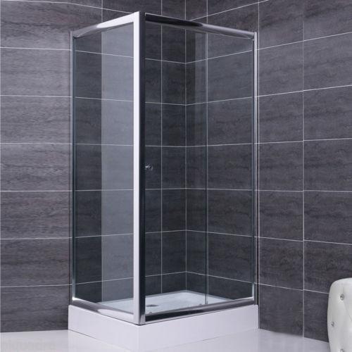 Box doccia 80x140 parete fissa e porta scorrevole in cristallo 6 mm trasparente