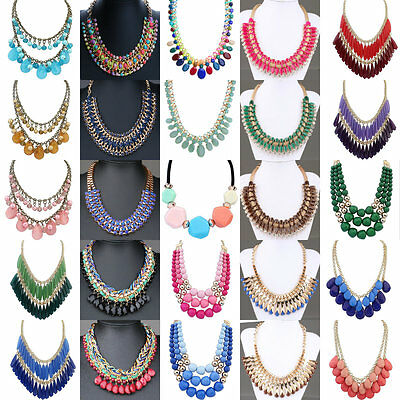 Charm Women's Unique Design Choker Chunky Bid Pandent Statement Necklace Jewelry