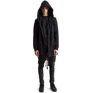 Men Goth Gothic Punk Jacket Hooded Jacket Long Cardigan Ninja ...