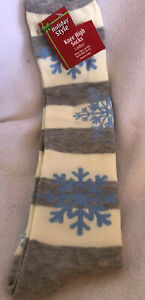 Snowflake-Knee-High-Socks-Ladies-Size-9-11-Gray-Stripe-Light-Blue-NWT