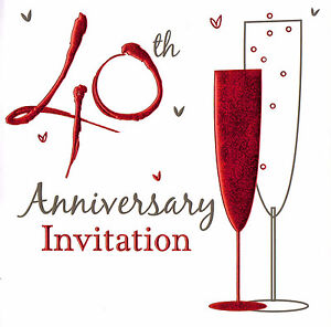Details About 60 X Ruby Wedding Anniversary Invitation Cards 40th Party Invites 40 Years