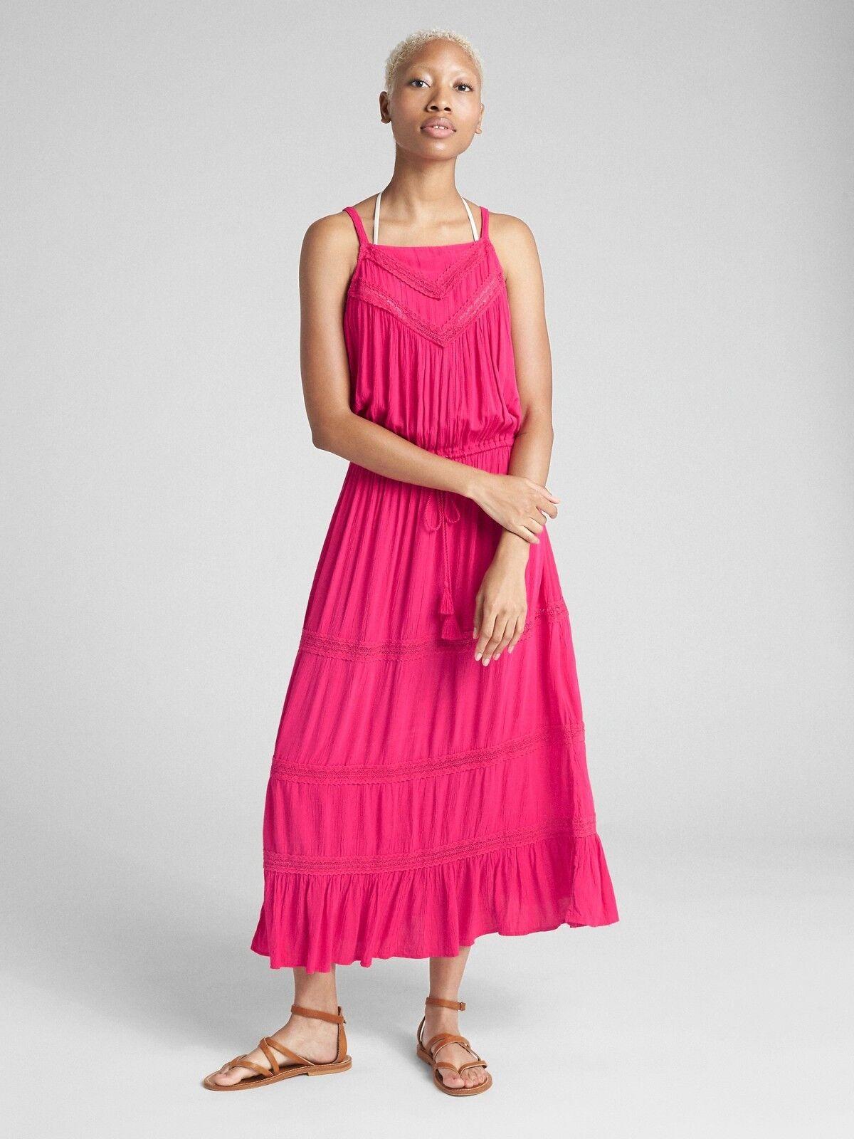 Gap Tiered Lace-Trim Maxi Dress Cover-Up, bright claret SZ MT      E1125