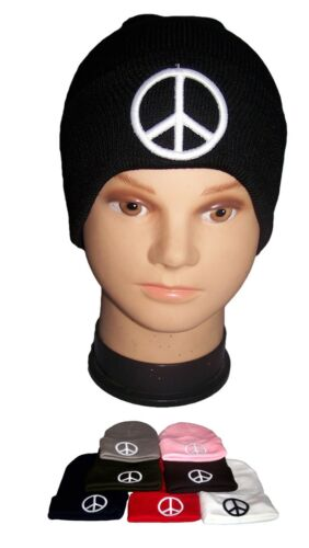 Wca123  ^* Peace Knitted Winter Caps Beanies Embroidered Color Choice
