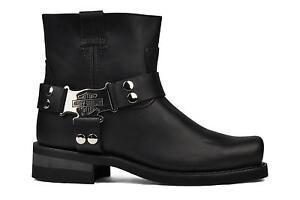 Harley Davidson Iroquois Low Mens Black Leather Square Toe Biker Boots Original