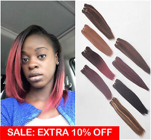 Thick-Remy-Human-Hair-Weave-Weft-Extensions-Yaki-Straight-Black-Brown-Blonde-Red