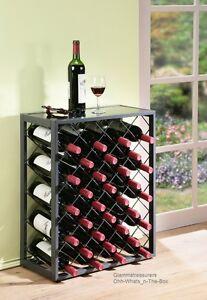 Wine Storage Rack Floor Display Cabinet Glass Metal Bar