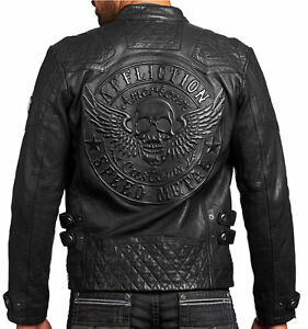 020c17293 Details about Affliction American Customs - ON FIRE - Men's Leather Biker  Jacket NEW - Black
