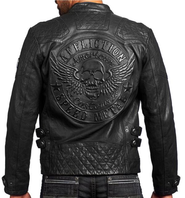 Affliction American Customs - ON FIRE - Men's Leather Biker Jacket  NEW - Black