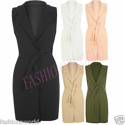 New Womens Sleeveless Belted Crepe Open Long Waistcoat Top Ladies Jacket 8-14