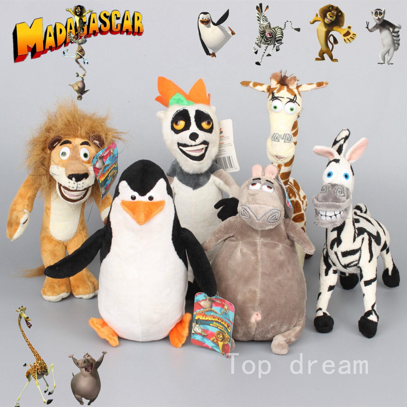 Madagascar Giraffe Melman Penguin Plush Toy Hippo Figurine Zebra Lion xmas doll