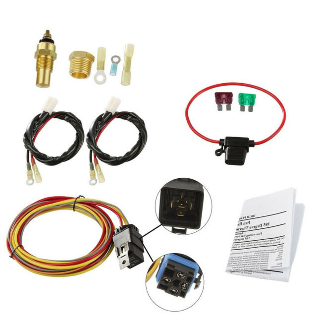 dual electric car cooling fan wiring harness kit 185 165 thermostat