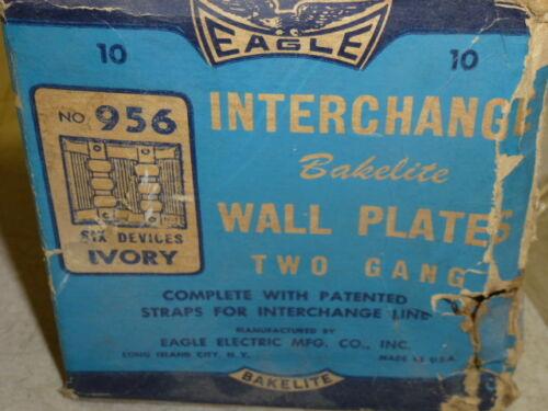 956 EAGLE INTERCHANGE 2-GANG IVORY RIBBED BAKELITE WALL PLATE NOS HORIZONTAL