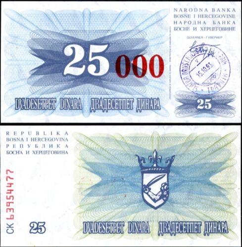 BOSNIA 250,000 DINARA 1993 P 54B AUNC ABOUT UNC