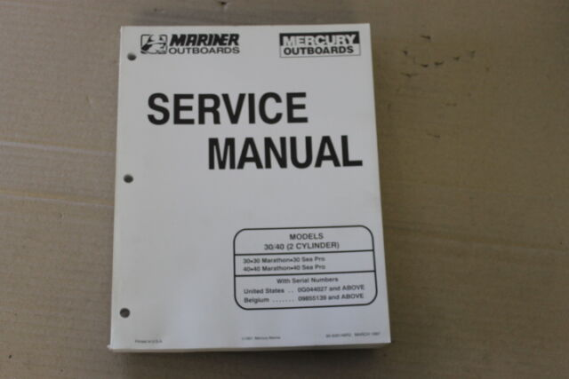 90 826148r2 mercury mariner outboard service manual 30 40 hp 2 cyl rh ebay com Mariner 25 HP Outboard Used 40 HP Mariner Outboard