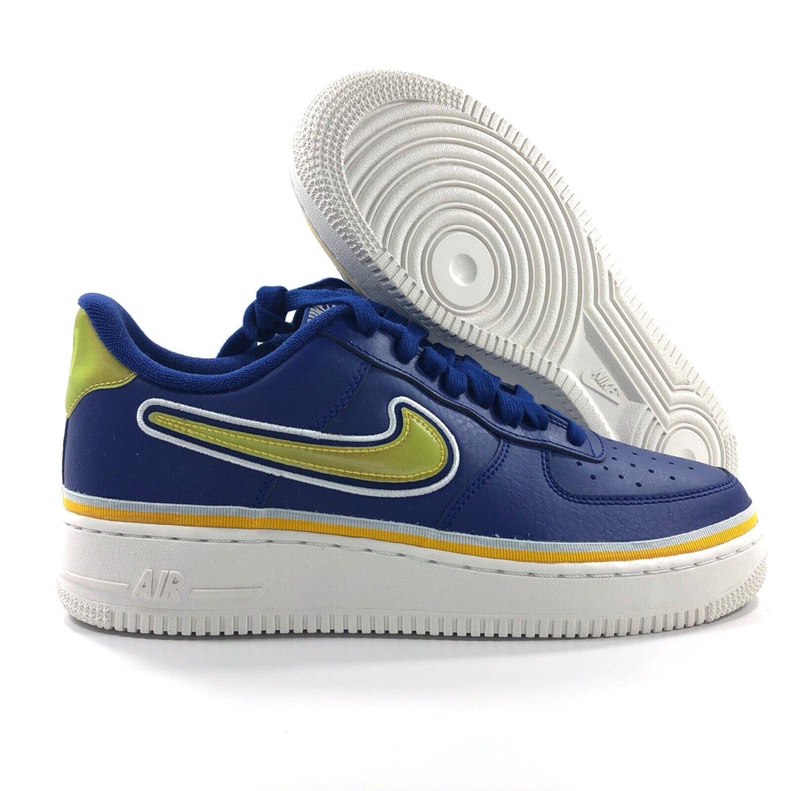 Nike Air Force 1 '07 LV8 Sport NBA Warriors Blue Gold AJ7748 400 Men's 10 12