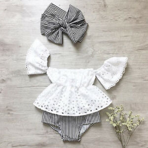 Official Website 0-24m Baby Girls Off Shoulder Floral Tops Leather Shorts 3pcs Outfit Clothes Summer Mother & Kids