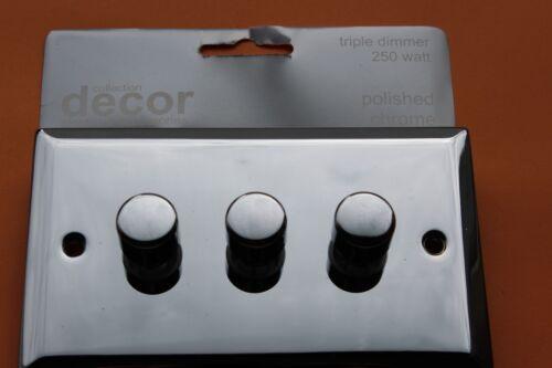 Obtenez DECOR Triple Variateur Chrome Poli DIE CAST 3 G 2way 60-250 W POUSSOIR ON-OFF
