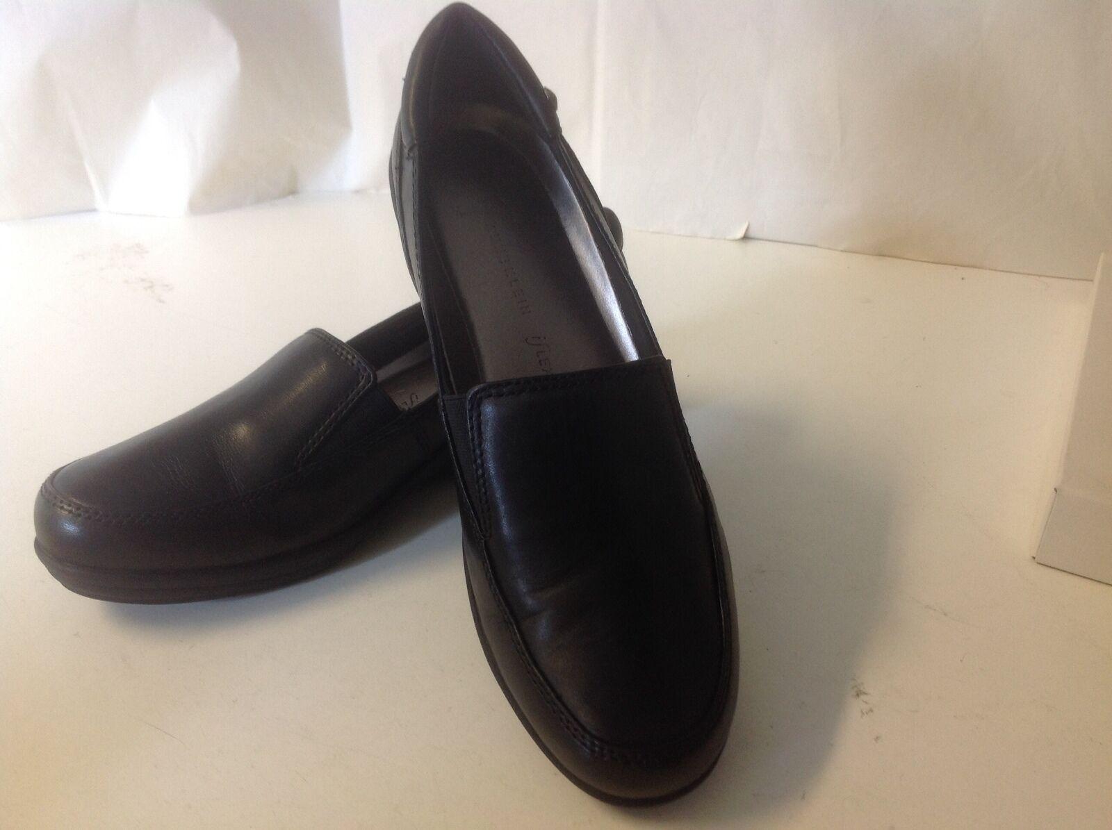 Anne Klein Gunnar Black 8 1/2 M New Leather Closed Toe iFlex Low Heel Wedge