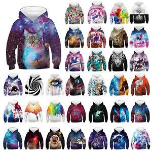 Kids Boys Girls 3D Graphic Hoodie Sweatshirt Pullover Jumper Jacket Coat Tops UK