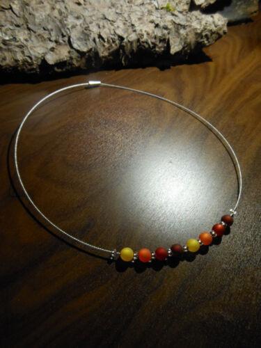 Neu Unikat rot gelb Polarisperlenkette Polariskette Halskette Kette Polaris