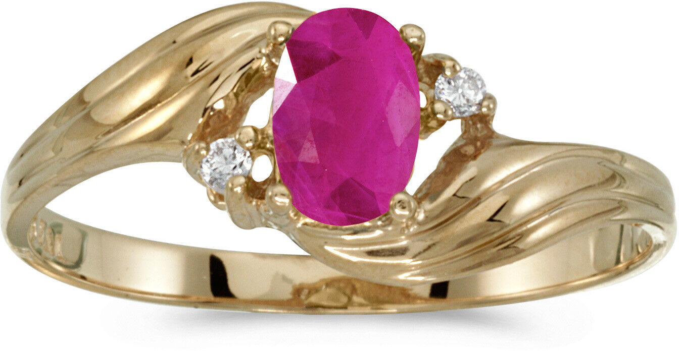 14k Yellow gold Oval Ruby And Diamond Ring (CM-RM671X-07)