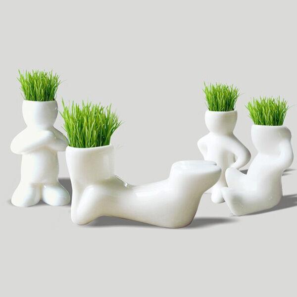 4 Shape DIY Mini Novel Ceramic Porcelain Bonsai Grass Doll Hair Man Plant White