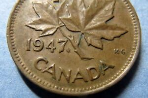 RARE-COIN-1947-WITH-MAPLE-LEAF-CANADA-KING-GEORGE-VI-ONE-CENT-COIN-RARE-COIN
