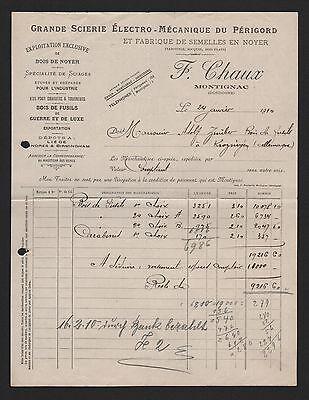 Montignac, Rechnung 1910, F. Chaux Grande Scierie Électro-méchanique Du Périgord Neueste Mode