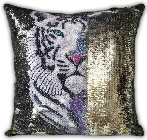 Papillon Loup Monroe Magique Sequin Sirène Coussin ou Housse Réversible Tigre