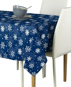Winter Blue Christmas Snowflakes Tablecloths Assorted Sizes Ebay