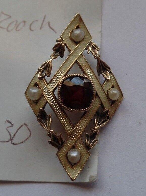 Antique Appraised 1920-30 Natural Seed Pearl Garrett 14K gold HandMade Brooch