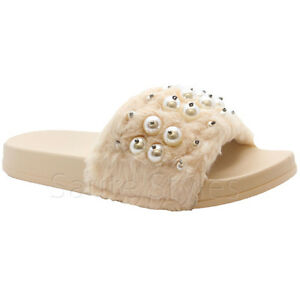 Ladies Womens Summer Celeb Farrah Fur Rubber Slip On Sliders Mules Sandals Shoes