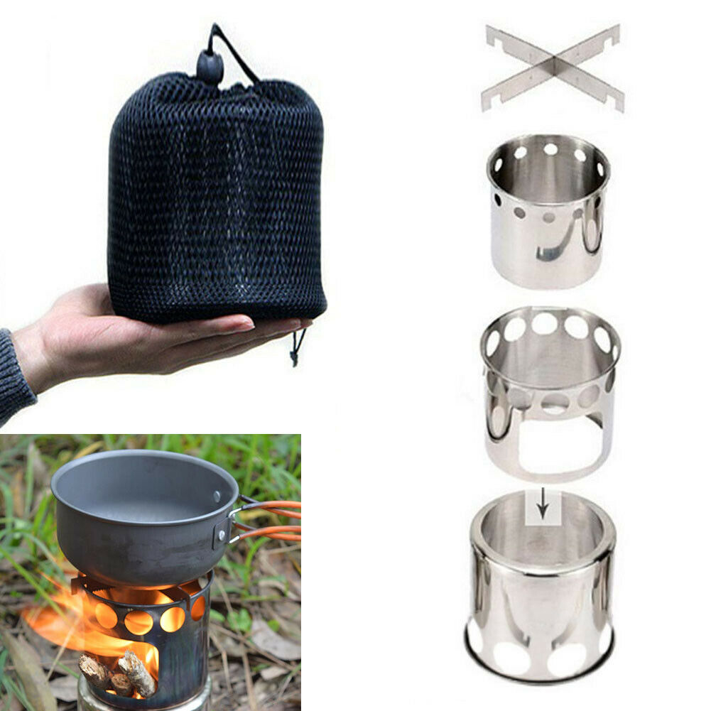 Portable Outdoor Travel Camping Wood Stove Stainless Steel Pot Cookware Set UK