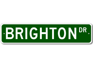 BRIGHTON Street Sign Personalized Last Name Sign