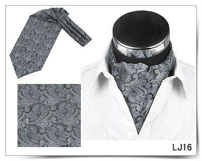 Men Vintage Wedding Formal Cravat Ascot Scrunch Self Neck Tie Silver Paisley