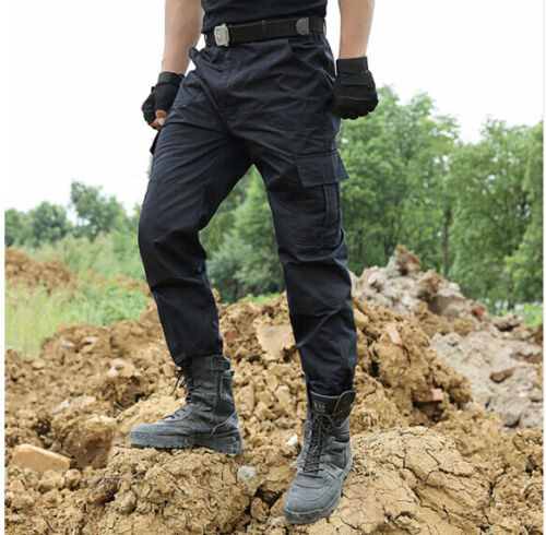 Tactical Pants Military Cargo Pants Men Military Work Casual Trouser Black HC