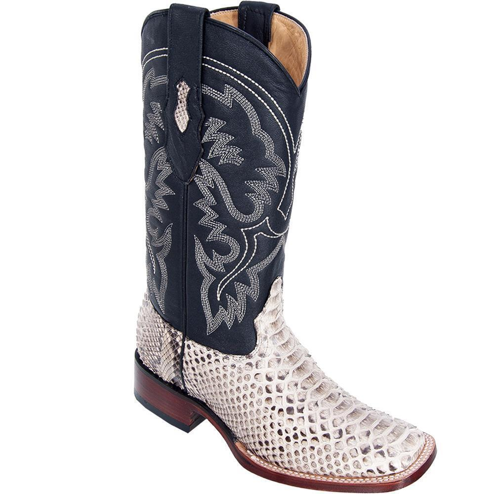 Los Altos NATURAL Python Snake Square Toe TPU Rubber Sole Western Boot EE+