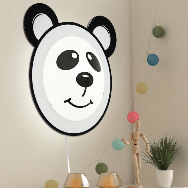 "Noir 95746 Murale Blanc Enfants Pandino ""panda"" Applique Eglo dCBeox"