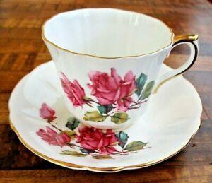 Royal Eton Pink Rose Tea Cup & Saucer Staffordshire Bone China England Gold Trim