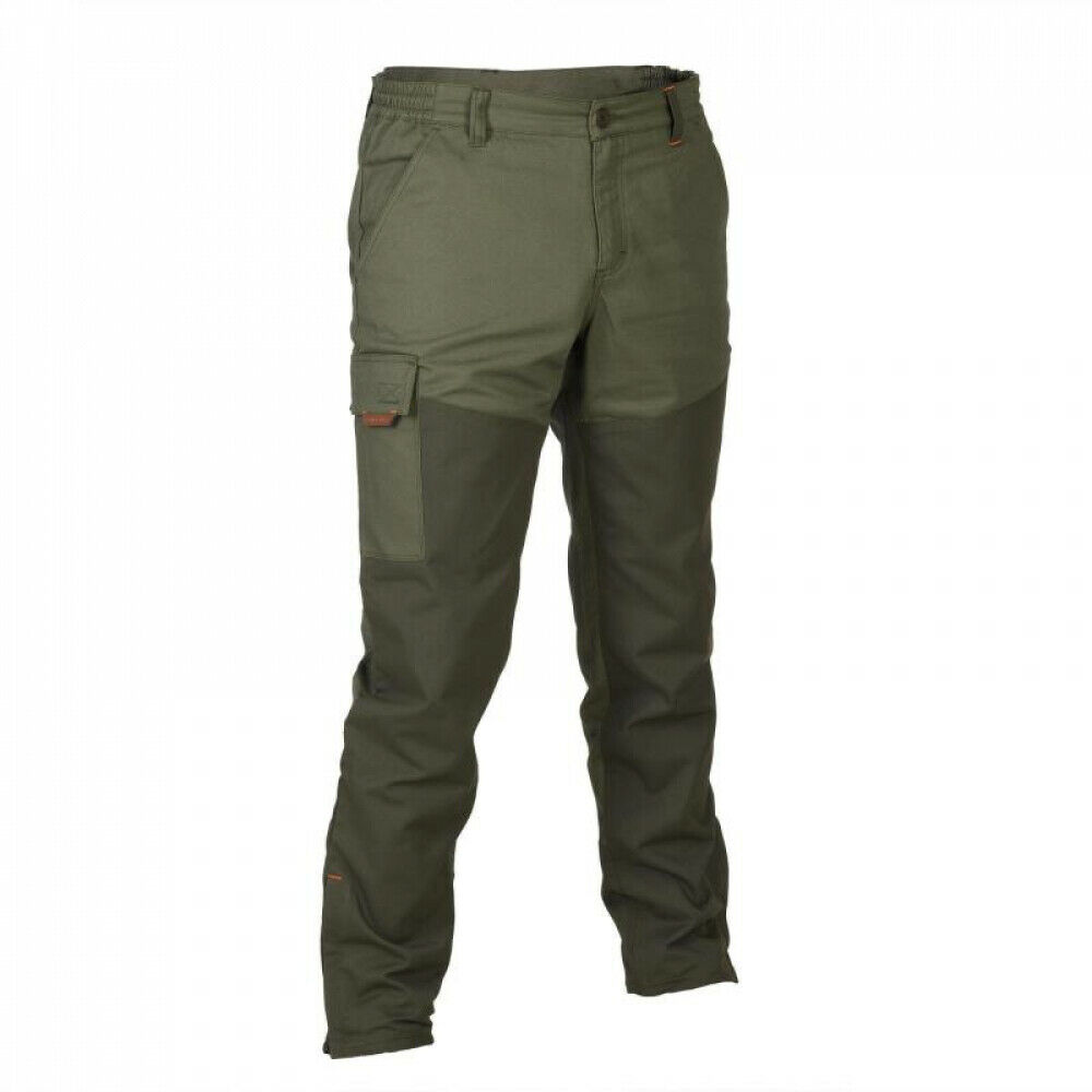 SOLOGNAC 100 REINFORCED TAPERED HUNTING TROUSERS - GREEN