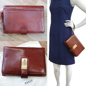 BALLY Oak Tan Brown 100% Leather Wristlet Clutch Bag handbag wallet organiser