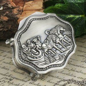 Tibet-silver-carved-horse-drawn-sleigh-octagonal-jewelry-box