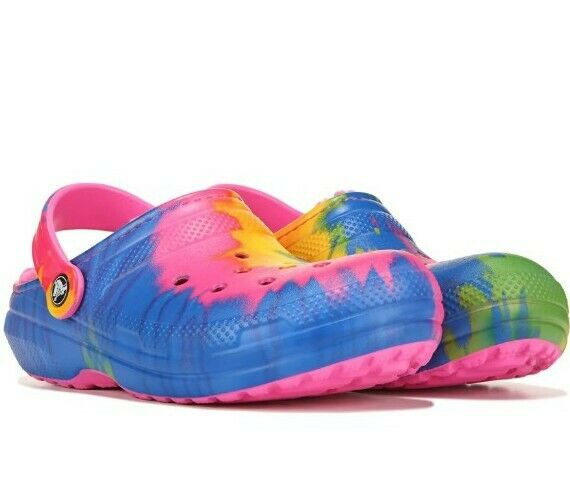 New Adorable Crocs Fuzz Lined Classic Tie Dyed Clogs Women Size 7 Tie Dye NWT!