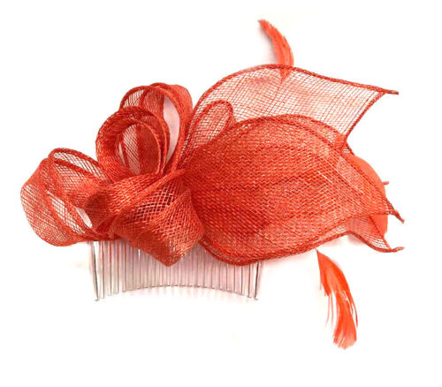 Coral Looped Feather Comb Fascinator Ladies Day Royal Ascot Wedding