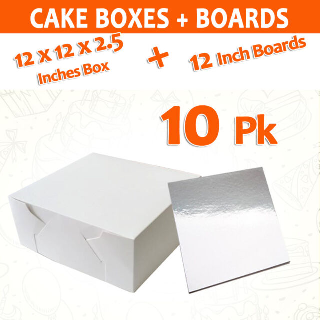Cake Boxes 12 x 12 x 2.5 10 Pc + 10 Pc Cake Boards 12 Inches Square Silver