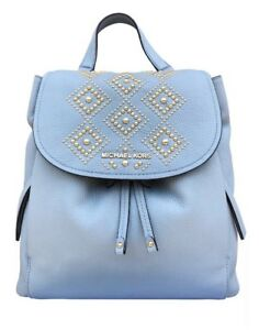 fc8a38eb36b6 NWT Michael Kors Riley Large Leather Backpack Pale Blue Gold Studded ...