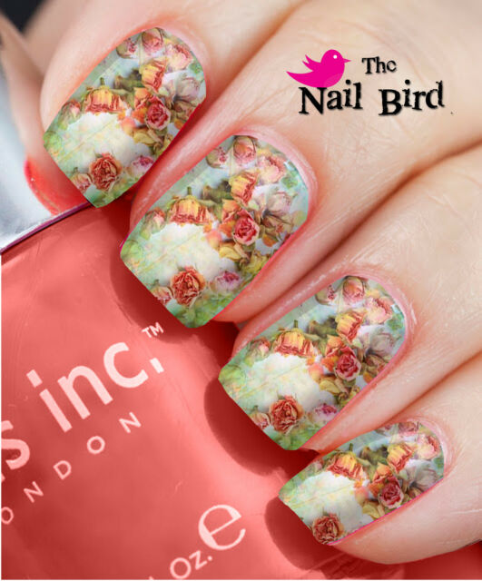 Nail Wraps Fab Vintage Roses - 20 Full Nail Art Water Decals Nail Transfers
